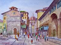 Quadro di  Giovanni Ospitali - Interno Ponte Vecchio acuarela tabla