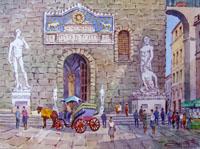 Работы  Giovanni Ospitali - Piazza della Signoria watercolor стол