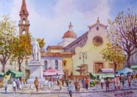 Работы  Giovanni Ospitali - Piazza S. Spirito watercolor стол