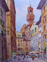 Работы  Giovanni Ospitali - Via de' Neri watercolor стол