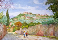Работы  Giovanni Ospitali - Verso Fiesole watercolor стол
