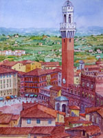 Работы  Giovanni Ospitali - Siena-panorama watercolor холсткартон