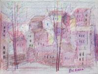 Quadro di  Lido Bettarini - Case pastel tela