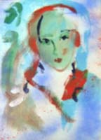 Работы  Ernesto Treccani - Volto di donna oil холст