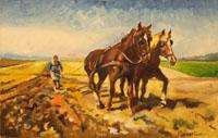 Quadro di  Luigi Pignataro - Contadina con cavalli in Arizzona acrÍlico tela