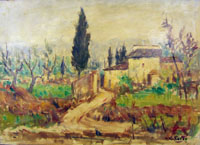 Quadro di Giuseppe Taiti - Paesaggio di campagna olio tela