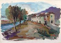 Работы  Gino Tili - Case sul fiume  varnish бумага