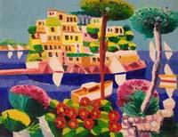 Quadro di  Athos Faccincani - Le barche arrivate a Ischia huile toile