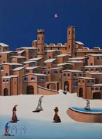 Quadro di  Tedeschi - Paesaggio innevato olio tela