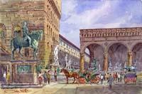 Работы  Giovanni Ospitali - Piazza Signoria watercolor стол