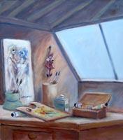 Quadro di  Umberto Bianchini - La soffitta del pittore acrÍlico tela