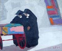 Quadro di  Gino Paolo Gori - Suore al mercato huile toile