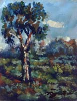 Quadro di  Luigi Pignataro - L'albero solitario Óleos tableros duros