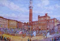Работы  Giovanni Ospitali - Siena - Palio watercolor картон