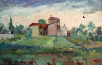 Quadro di  Gino Tili - Borgo Óleos tabla