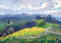 Quadro di  Gino Paolo Gori - Paesaggio con ginestre huile tableau