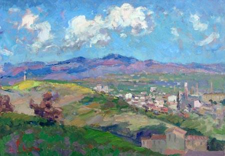 Quadro di gino paolo gori colline toscane for Planimetrie del paese di collina