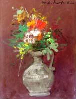 Quadro di  Osman Lorenzo De Scolari - Vaso di fiori Óleos cartÓn