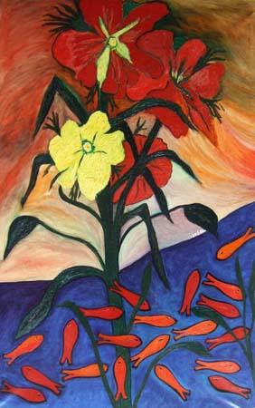 Quadro di livio cogoli fiori rossi con orchidee for Quadri moderni orchidee
