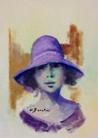 Quadro di  Umberto Bianchini - Volto con cappello détrempe papier