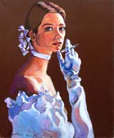 Quadro di  Luigi Pignataro - Donna che fuma Óleos tela