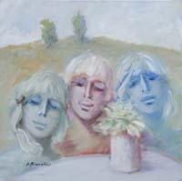 Quadro di  Umberto Bianchini - Il trio Óleos tela