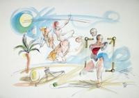 Quadro di  Claude Falbriard - Sulla spiaggia mixta papel