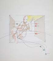 Quadro di  Claude Falbriard - Figura femminile mixta papel