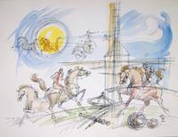 Quadro di Claude Falbriard - Cavalli mista carta