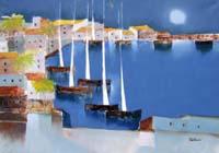 Quadro di  Lido Bettarini - Porto con vele huile toile
