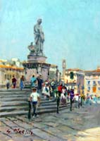 Quadro di  Graziano Marsili - Piazza S. Croce - Firenze huile tableau