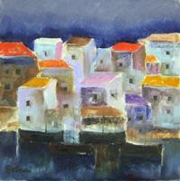 Quadro di  Lido Bettarini - Marina con case Óleos tela