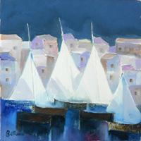 Quadro di  Lido Bettarini - Paesaggio con barche Óleos tela