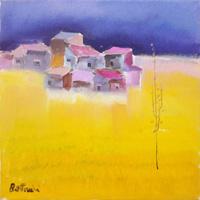 Work of Lido Bettarini  Campo di grano con case