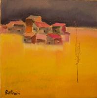 Quadro di  Lido Bettarini - Campo di grano con case Óleos tela