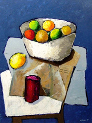 Работы  Franco Lastraioli - Frutti e giornali oil бумага