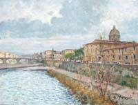Quadro di  Graziano Marsili - L'Arno al Cestello (Firenze) huile toile