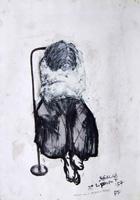 Quadro di  Beppe Fabbrini - Inferma con la camicia di forza mixta papel
