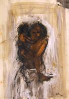 Quadro di  Beppe Fabbrini - Donna con bambino mixta papel