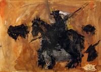 Quadro di  Beppe Fabbrini - Figura con cavallo acuarela papel