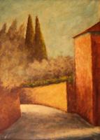 Quadro di  Pittori anonimi - Via San Leonardo  omaggio a Rosai olio tela