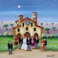 Quadro di  Zenone (Emilio Giunchi) - Matrimonio al castello olio tavola