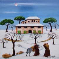 Quadro di  Zenone (Emilio Giunchi) - Frati e asinello olio tavola