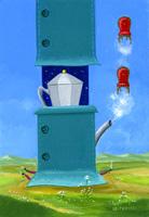 Quadro di  Franco Lastraioli - La caffettiera huile tableau