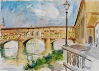 Quadro di  Rodolfo Marma - Ponte Vecchio (Firenze) acuarela papel