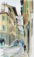Работы  Rodolfo Marma - Via Ricasoli (Firenze) watercolor бумага