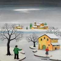 Quadro di  Zenone (Emilio Giunchi) - Paesaggio innevato olio tavola