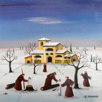 Quadro di  Zenone (Emilio Giunchi) - Inverno al convento olio tavola