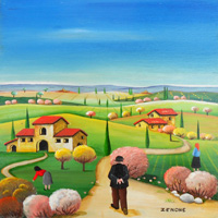 Work of  Zenone (Emilio Giunchi) - Campagna toscana oil table