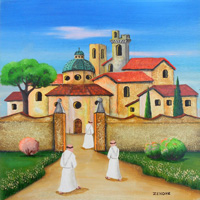 Quadro di  Zenone (Emilio Giunchi) - L'entrata del convento olio tavola